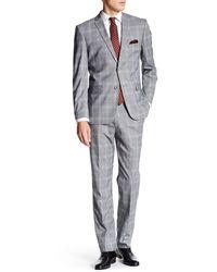 Nicole Miller - Grey Multicolored Modern Plaid Two Button Notch Lapel Suit - Lyst