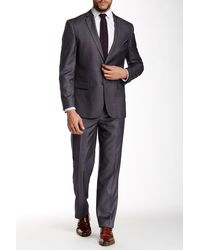 Nicole Miller - Dark Gray Checkered Two Button Notch Lapel Suit - Lyst