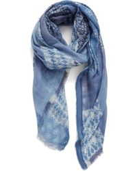 Treasure & Bond - Indigo Patchwork Scarf - Lyst