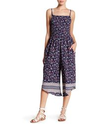 Mimi Chica - Cami Smocked Print Jumpsuit - Lyst