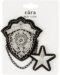 Cara - Star & Crest Pin - Set Of 2 - Lyst