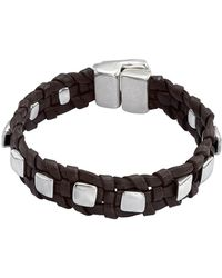Uno De 50 - Cool & Collected Studded Braided Black Leather Bracelet - Lyst
