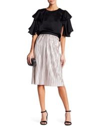 Do+Be Collection | Pleated Metallic Knee Length Skirt | Lyst