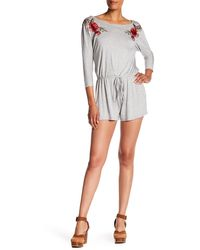 West Kei - Rose Embroidered Knit Romper - Lyst