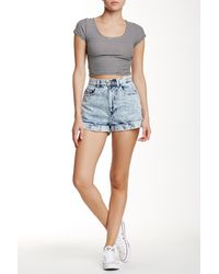 American Apparel - Denim High-waist Cuff Short - Lyst