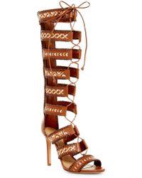 Missguided Geometric Knee High Heeled Gladiator Sandals Black in ...