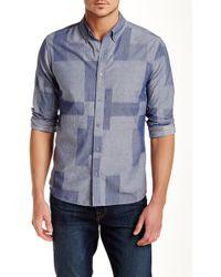 Baldwin Denim - Geo Patterned Chambray Slim Fit Shirt - Lyst