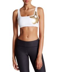 Cynthia Rowley - Metallic Floral Sports Bra - Lyst
