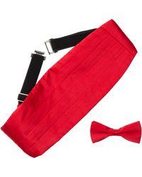 Bristol & Bull - Red Silk Cummerbund & Bow Tie Set - Lyst