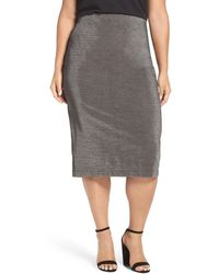 Sejour - Metallic Pencil Skirt (plus Size) - Lyst