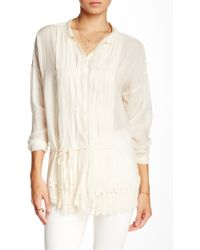 4 Love & Liberty - Sheer Pleated Blouse - Lyst