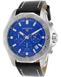 Swiss Legend - Men's Black Genuine Leather Watch - Lyst