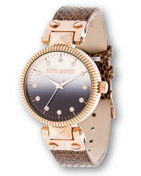 Steve Madden - Gradient Sunray Dial Watch With Stone Markers On Snake Leather Strap - Lyst