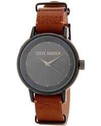 Steve Madden - Women's Analog Brown Leather Strap Watch - Lyst
