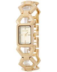 Steve Madden - Women's Hexagon Enamel Link Bracelet Watch - Lyst