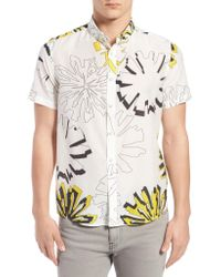 Oxford Lads - Trim Fit Geo Floral Print Short Sleeve Woven Shirt - Lyst