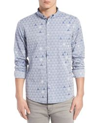 Oxford Lads - Trim Fit Geo Print Jacquard Woven Shirt - Lyst