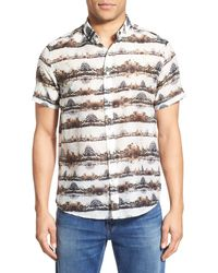 Oxford Lads - 'mountain Landscape' Trim Fit Short Sleeve Print Woven Shirt - Lyst