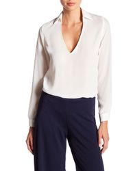 Missguided - Plunge Chiffon Blouse - Lyst