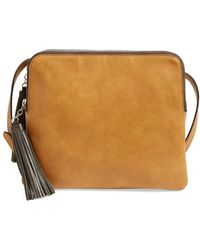 Phase 3 - 'flat Pack' Tassel Faux Leather Crossbody Bag - Lyst