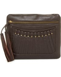 Cynthia Vincent - Bitten Leather Tassel Clutch - Lyst