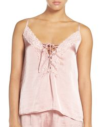 Band Of Gypsies - Lace Neck Satin Camisole - Lyst