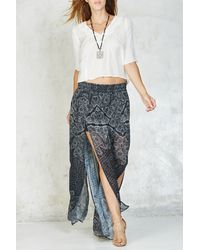 Gypsy 05 - Printed Side Slit Silk Maxi Skirt - Lyst