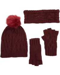Rampage - Faux Fur Pompom Cable Knit 3-piece Set - Lyst