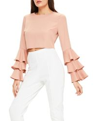 Missguided - Ruffle Crop Blouse - Lyst