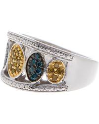 Savvy Cie Jewels - Sterling Silver Blue & Yellow Diamond Ring - 0.33 Ctw - Size 8 - Lyst