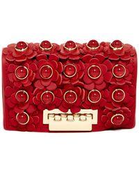 Zac Zac Posen - Earthette Floral Applique Leather Card Case - Lyst