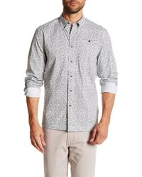 Kenneth Cole - White Noise Print Long Sleeve Regular Fit Shirt - Lyst