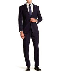 Perry Ellis - Navy Stripe Two Button Notch Lapel Slim Fit Suit - Lyst