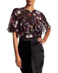 Adria Moss - Silk Chiffon Ruffle Floral Top - Lyst