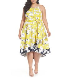 dd90aeceb402f Lyst - LOFT Plus Mini Floral Ruffle Halter Swing Dress in Blue