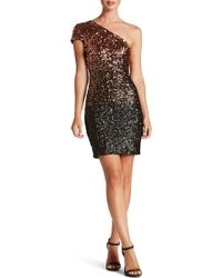 Dress the Population - Debbie Ombre Sequin One-shoulder Dress - Lyst