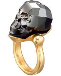 Uno De 50 - Mc Glamer Faceted Swarovski Crystal Accented Skull Ring - Lyst