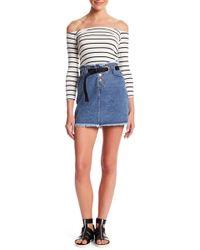 Honey Punch - Frayed Hem Grommet Skirt - Lyst