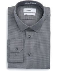 Calibrate - Trim Fit No-iron Micro Houndstooth Stretch Dress Shirt - Lyst