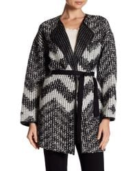 Basler - Chevron Knit Belted Cardigan - Lyst