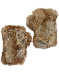 Surell - Genuine Rabbit Fur Fingerless gloves - Lyst