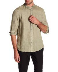RAFFI - Banded Collar Long Sleeve Linen Shirt - Lyst