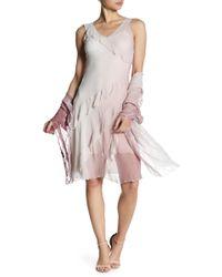 Komarov - Asymmetric Ruffle Dress With Shawl - Lyst