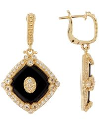 Judith Ripka - 14k Gold Plated Sterling Silver Westport Diagonal Cushion Drop Earrings - Lyst