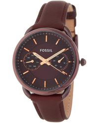 Fossil - Women's Tailor Leather Strap Watch, 34mm - Lyst