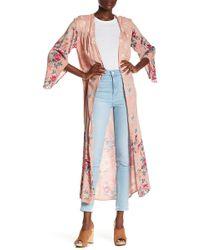 Angie - Floral Print Maxi Kimono - Lyst
