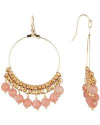 Panacea - Peach Moonstone Drop Earrings - Lyst