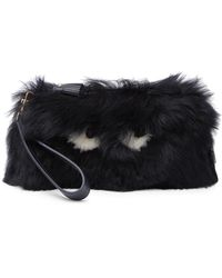 Anya Hindmarch Creeper Genuine Shearling Wristlet Clutch - Multicolour
