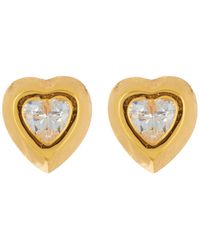 Argento Vivo - 18k Gold Plated Sterling Silver Cz Heart Stud Earrings - Lyst