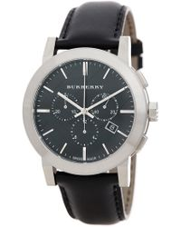 Burberry - Men's Classic Chronograph Leather Strap Watch - Lyst